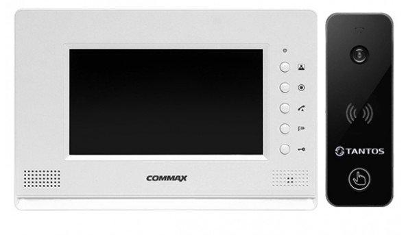 Для квартири з підключенням до багатоквартирного домофону Commax CDV-71AM White-Pearl + Tantos iPanel 2 WG (black)