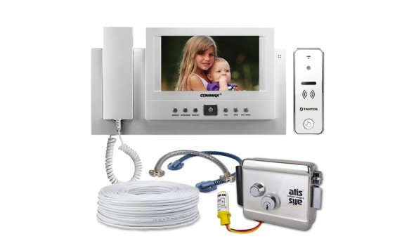 Комплект Commax CAV-71B (White) + Tantos iPanel 2 (white) 110 degre + Atis Lock Ch