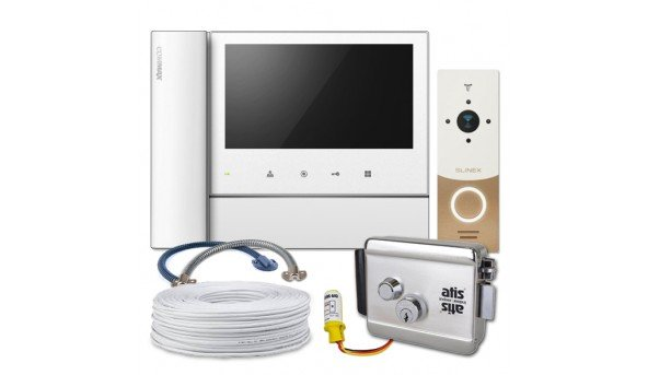 Комплект Commax CDV-70N2+Slinex ML-20HR (gold+white)+электромеханический замок Atis Lock Ch