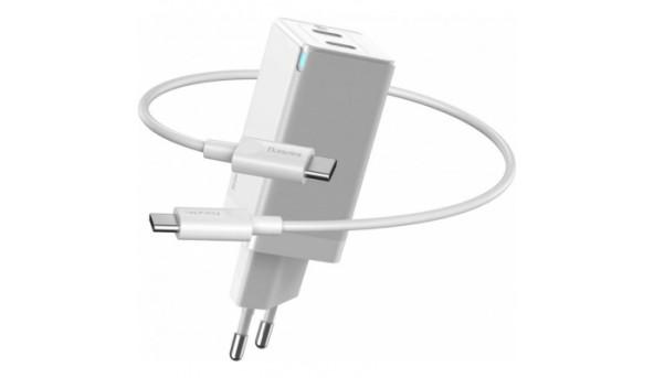 Зарядное устройство Baseus GaN2 QC C+C 45W + Cable Type-C 100W white (CCGAN-M02)