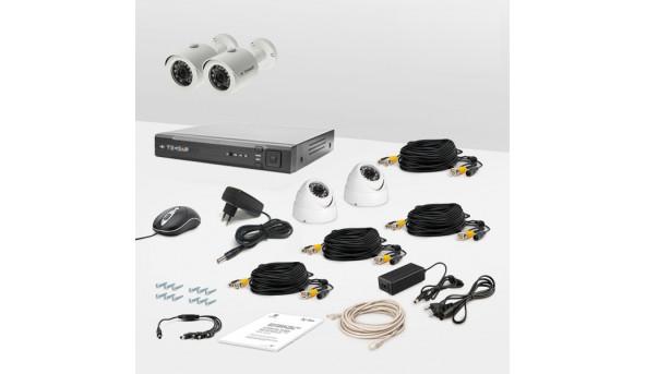 Комплект провідного відеоспостереження Tecsar 4OUT-MIX LUX