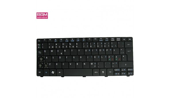 Клавіатура для ноутбука, Acer Aspire One AOD255, AEZH9N00210, Б/В, Протестована, робоча клавіатура, відсутні клавіші (фото)