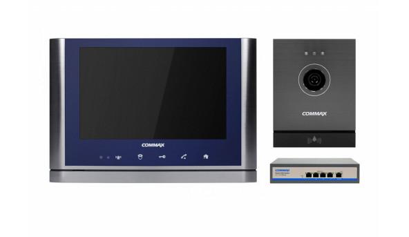 Комплект видеодомофона CIOT-1020M + Commax CIOT-D20M (A) c коммутатором на 4 порта Blue + Dark Silver