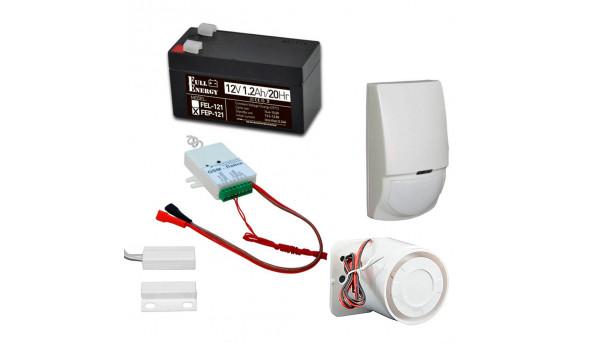 Комплект охранной GSM сигнализации с GSM-Лайка, датчиком движения, герконом, сиреной, аккумулятором